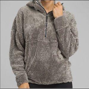 Prana permafrost fuzzy half zip hoodie jacket L